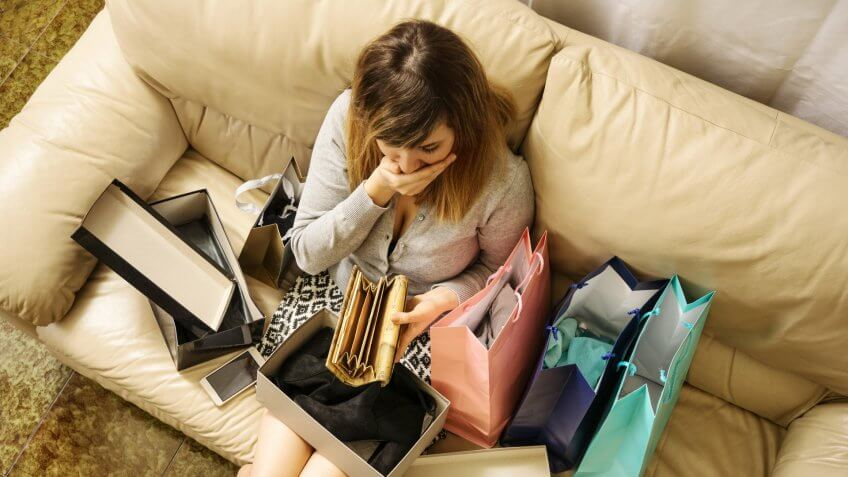 woman shocked at how much she spent shopping