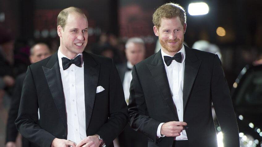 Prince William and Prince Harry'Star Wars: The Last Jedi' film premiere, Arrivals, London, UK - 12 Dec 2017.