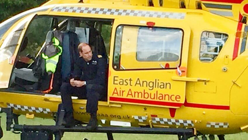 Prince William with the East Anglian Air Ambulance in a park on his last jobPrince William at work with East Anglian Air Ambulance, Royston, UK - 27 Jul 2017*Full story: https://www.