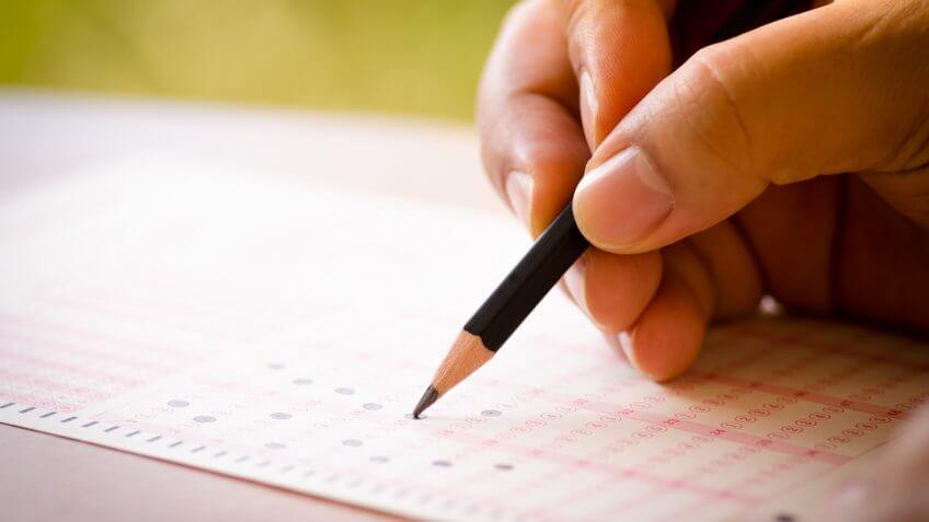 filling out questionnaire