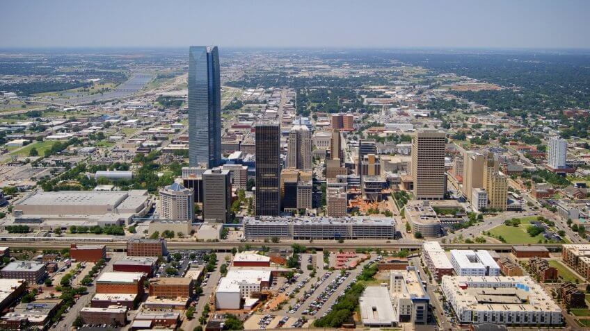 The aerial view of Oklahoma City, Oklahoma taken from a Robinson 44 helicopter with the door removed on August 15, 2014.