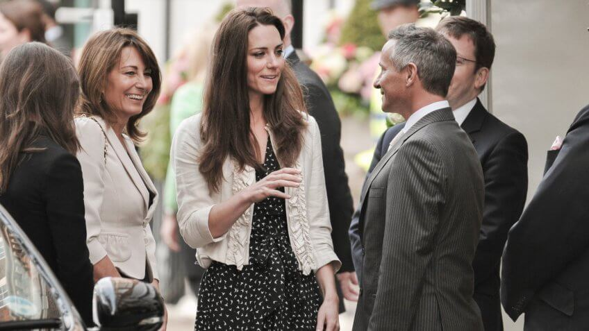 Kate Middleton (C) arrives with her mother Carole Middleton at the Goring Hotel on the evening before her wedding to Prince William on April 28, 2011 in London England.