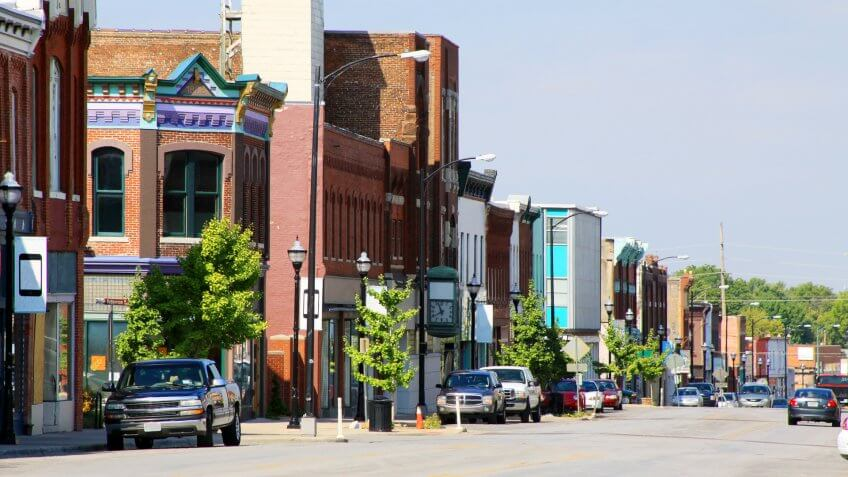 The historic section of Springfield, Missouri is photographed.