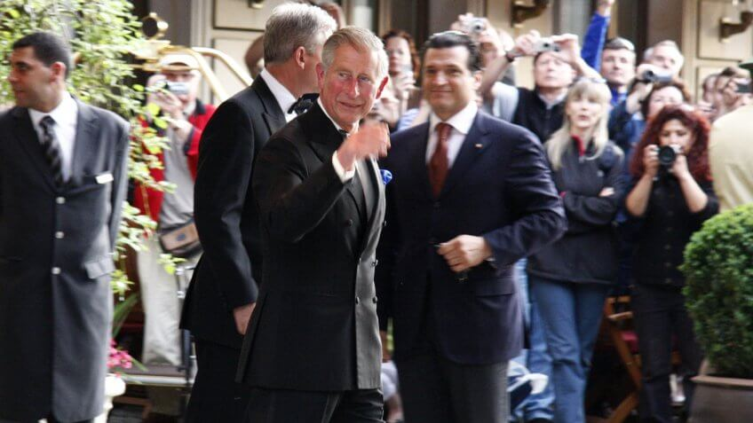 Prince Charles (Pronce of Whales) leaves the Hotel Adlon in Berlin Mitte during a journey through Germany by the British Crown Prince and his wife.