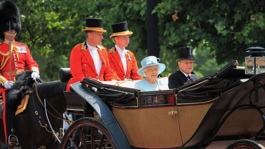 Queen Elizabeth II and Prince Philip appears in carriage during Trooping the Colour ceremony, to celebrate Queen Elizabeth 's Birthday on June 17, 2017 in London, England, UK.