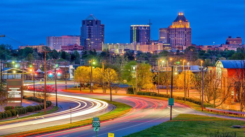 Greensboro North Carolina at dusk
