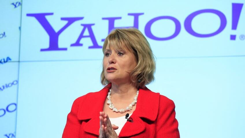 Carol Bartz, CEO of Yahoo, attends a news conference in New York.