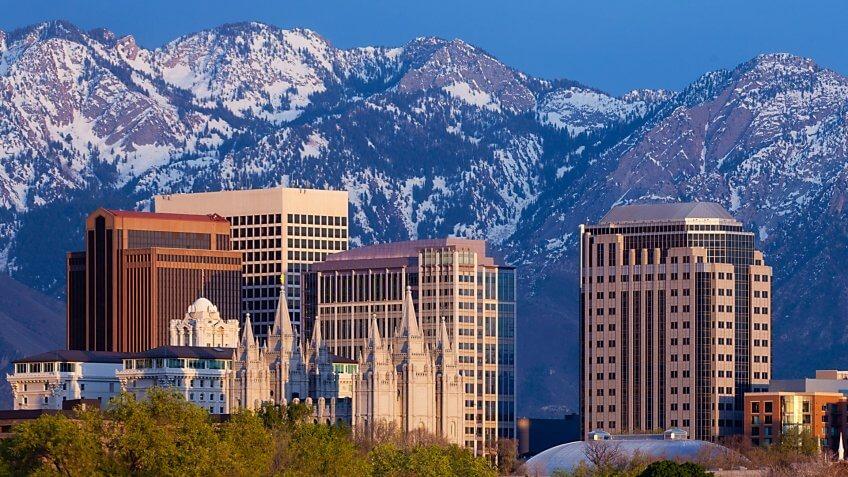 """A panorama of the Salt Lake City skyline at sunset."
