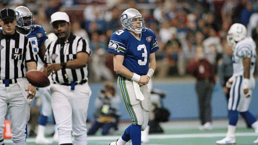 Mandatory Credit: Photo by Barry Sweet/AP/REX/Shutterstock (6511436a)Rick Mirer Seattle Seahawks quarterback, Rick Mirer (3) grimaces in pain after breaking his left thumb in the second quarter of play against the Indianapolis Colts in Seattle, Wash.