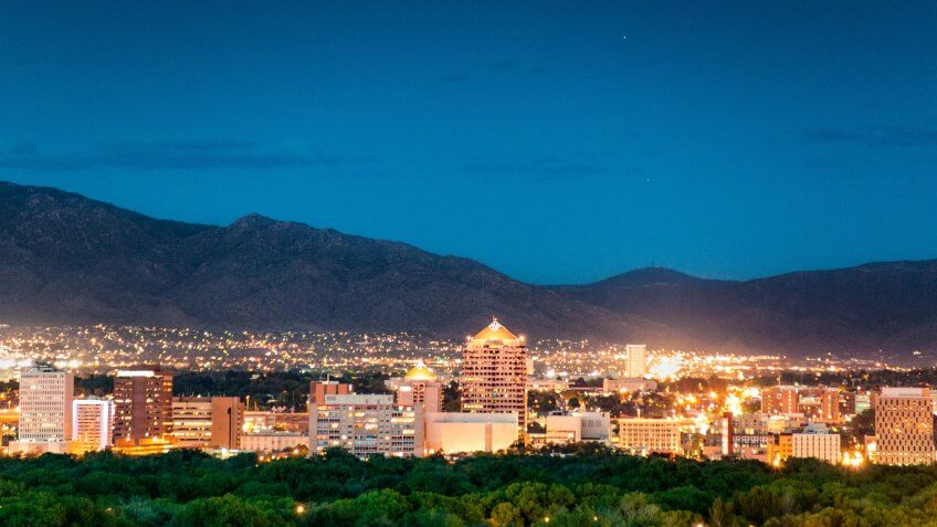 Panoramic image of Albuquerque Skyline at dusk.