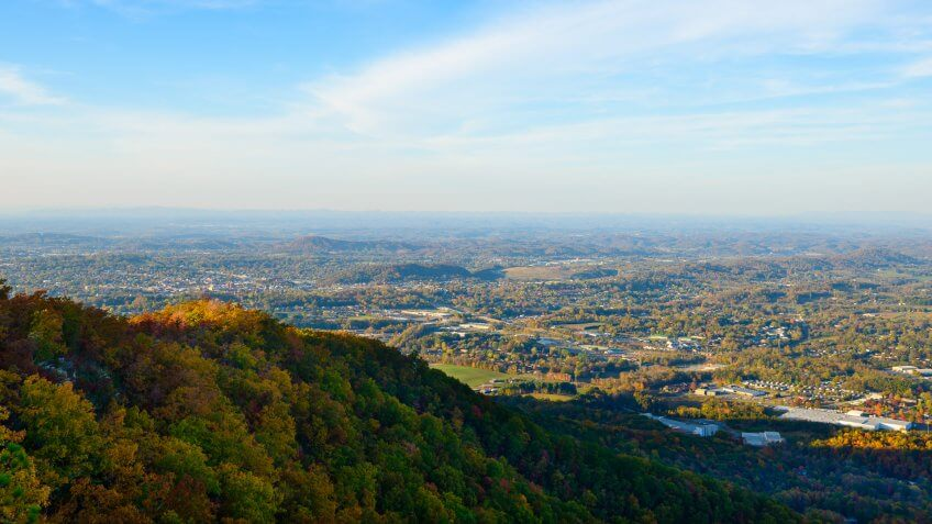 The view from Buffalo Mountain over the autumn landscape around Johnson City, Tennessee, a city of about 65,000 people.