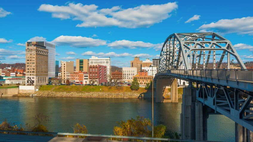 Charleston, West Virginia skyline, South Side Bridge, and the Kanawha River.