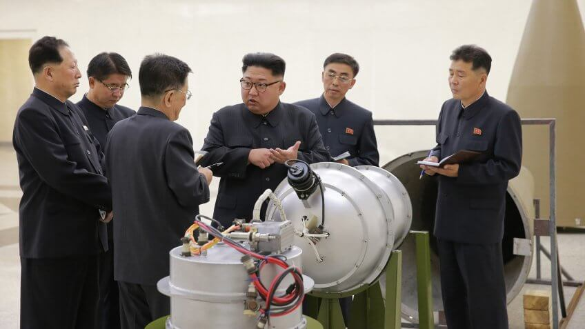 Kim Jong-un (3-R), chairman of the Workers' Party of Korea, chairman of the State Affairs Commission of the Democratic People's Republic of Korea (DPRK) and supreme commander of the Korean People's Army (KPA), purportedly guiding the work for nuclear weaponization on spot, at an undisclosed location, North KoreaNorth Korean leader Kim Jong-un gives guidance to nuclear weaponization of ICBM, Korea - 03 Sep 2017An undated photo released by the North Korean Central News Agency (KCNA), the state news agency of North Korea, on 03 September 2017 shows Kim Jong-un (3-R), chairman of the Workers' Party of Korea, chairman of the State Affairs Commission of the Democratic People's Republic of Korea (DPRK) and supreme commander of the Korean People's Army (KPA), purportedly guiding the work for nuclear weaponization on spot, at an undisclosed location, North Korea.