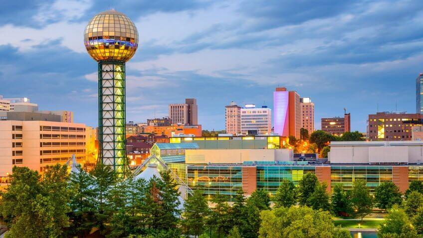 Knoxville, Tennessee, USA city skyline at World's fair Park.