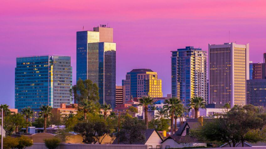 Downtown Phoenix skyline at dusk.