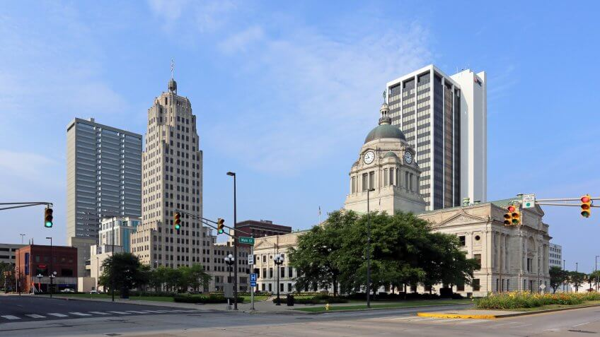 Fort Wayne, IN, USA - August 2, 2014: The downtown district in Fort Wayne, Indiana.