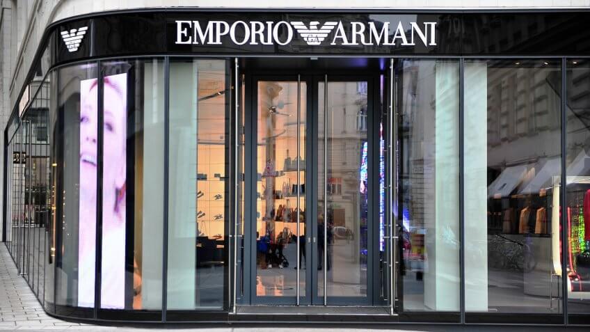 Vienna, Austria - February 11, 2017: Facade of Emporio Armani store in the street of Vienna on February 11, 2017.