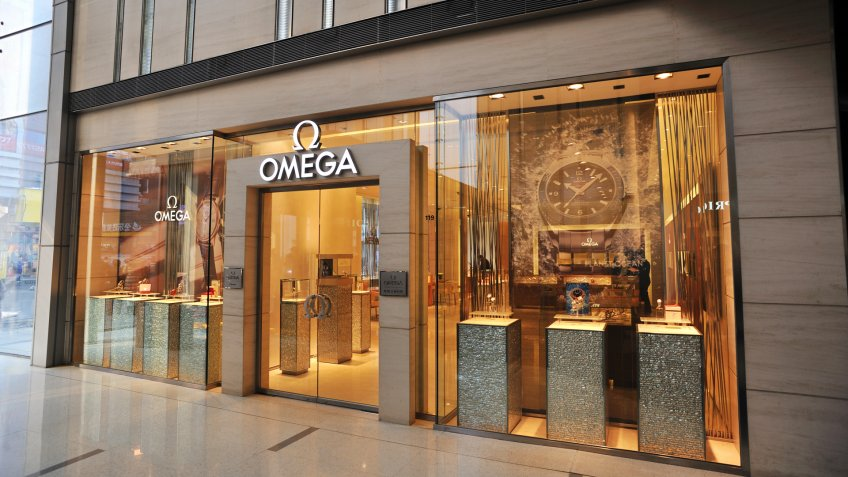 """""""shenyang, China - March 3, 201: Omega Shop, downtown in the shopping mall."""