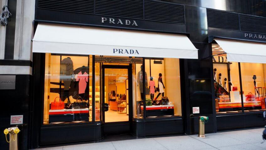 """New York, New York, USA - June 2, 2011: A Prada designer boutique on 57th street in midtown Manhattan."