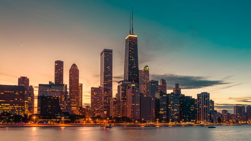 Chicago Downtown against at dusk with light leaks.