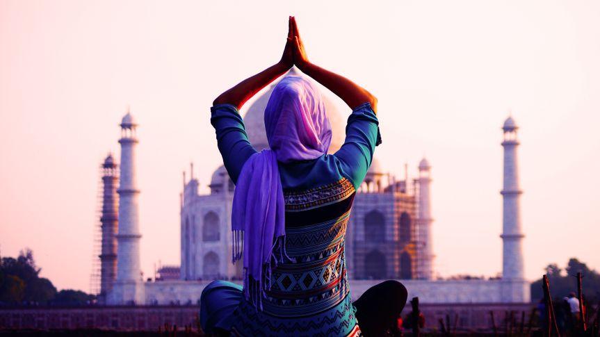 woman doing yoga pose in India