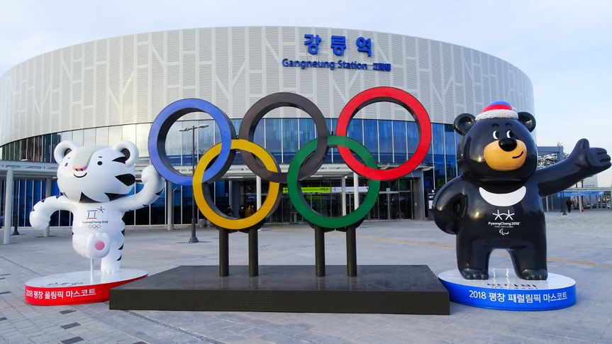 Gangneung, South Korea, January 5, 2018, Gangneun KTX station which is newly opened ahead of the 2018 Pyeongchang Winter Olympic Games, with Olympic rings and mascots.