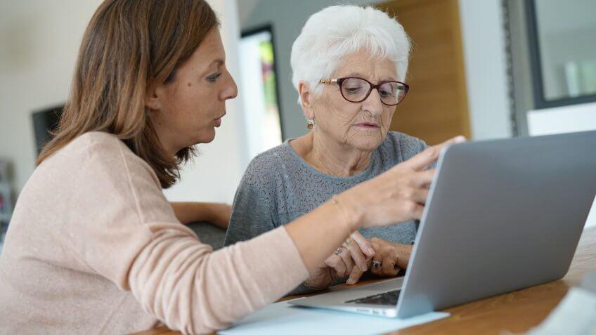 Computer, elderly, help, laptop, senior, woman