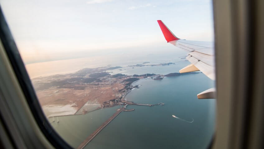 View from airplane window of South Korea.