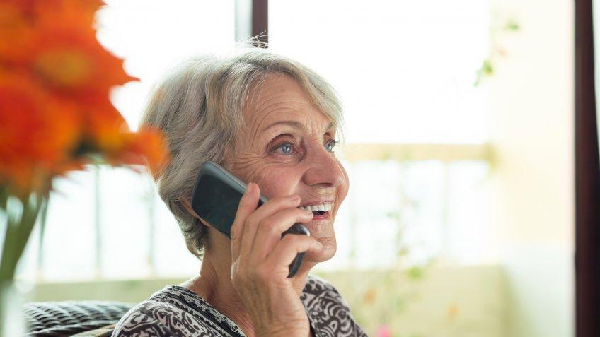 elderly, phone, senior, woman