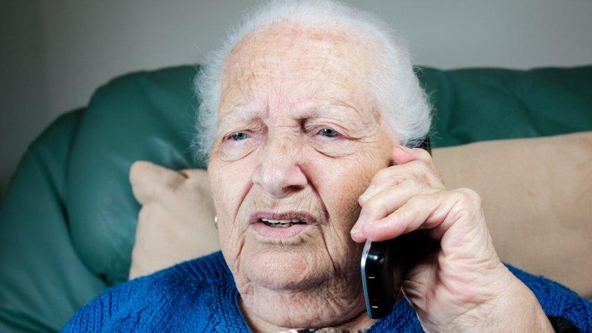 confused, elderly, phone, senior, woman
