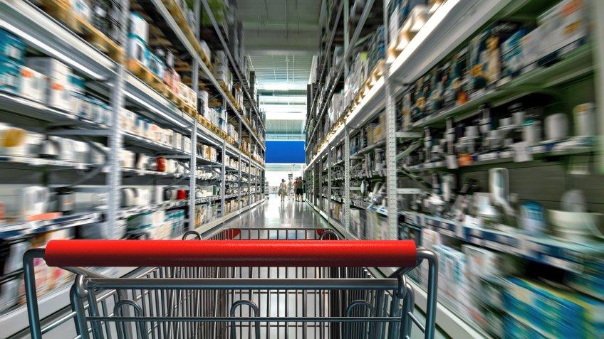aisle, shopping cart, store