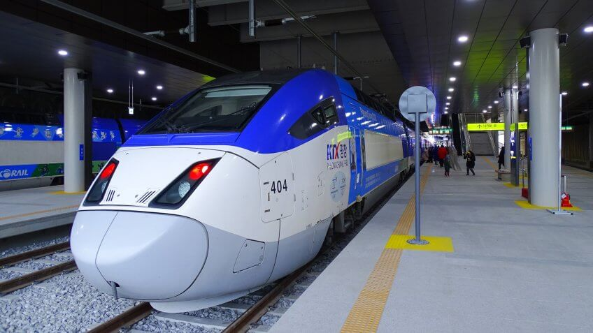 Gangneung, South Korea, January 5, 2018, A Ktx train is standing at the Gangneun KTX station which is newly opened ahead of the 2018 Pyeongchang Winter Olympic Games.