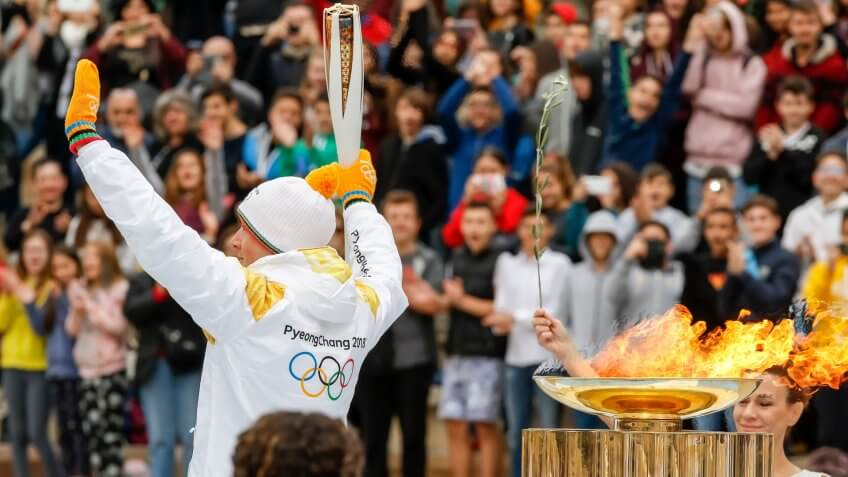 Athens, Greece - Oct 31,2017: The Olympic flame was handed to organizers of the Pyeongchang (South Korean) Winter Olympics Feb.