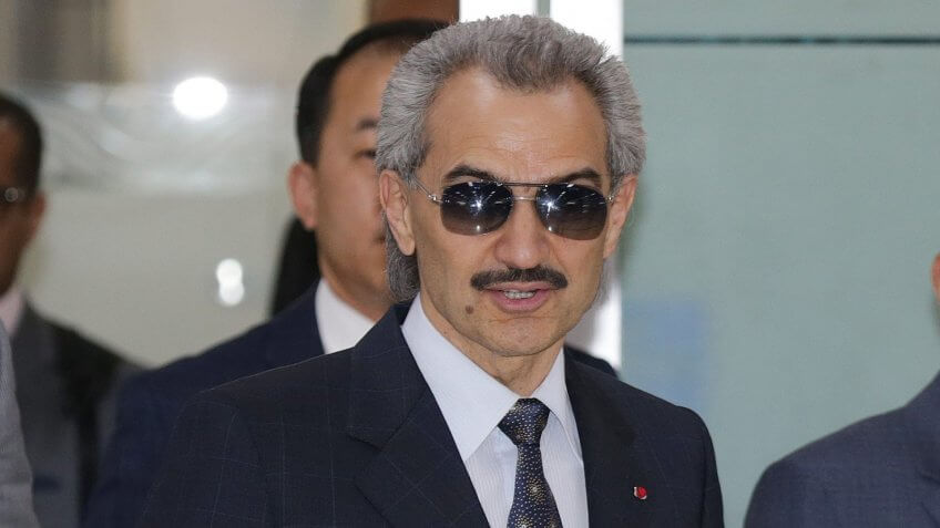 Saudi Arabia Billionaire Prince Alwaleed Bin Talal (3-r) a Cousin of Saudi King Salman Arrives at Gimpo International Airport West of Seoul 16 May 2016 He is Scheduled to Meet Key South Korean Figures Before Leaving the Country Later in the Day Korea, Republic of SeoulSouth Korea Saudi Arabia Prince Talal Visit - May 2016.