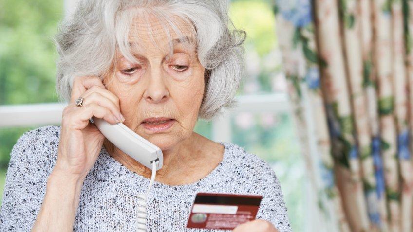 confused, credit card, elderly, senior, woman