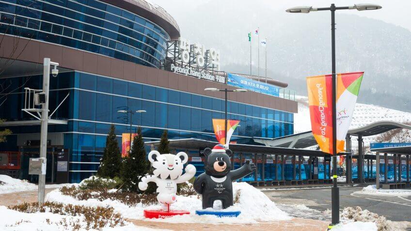 PyeongChang, South Korea - Dec 30, 2017 PyeongChang Station with PyeongChang Winter Olympic Mascots, white tiger Soohorang and black bear Bandabi.