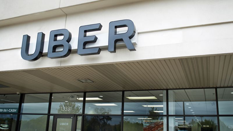 Uber Office, Oak Park, Michigan, USA - May 1, 2017:Exterior view of an Uber Office and it's sign, May 1, 2017, Oak Park, Michigan USA.