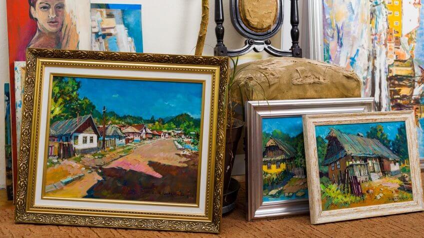 artwork, framed paintings, frames, paintings