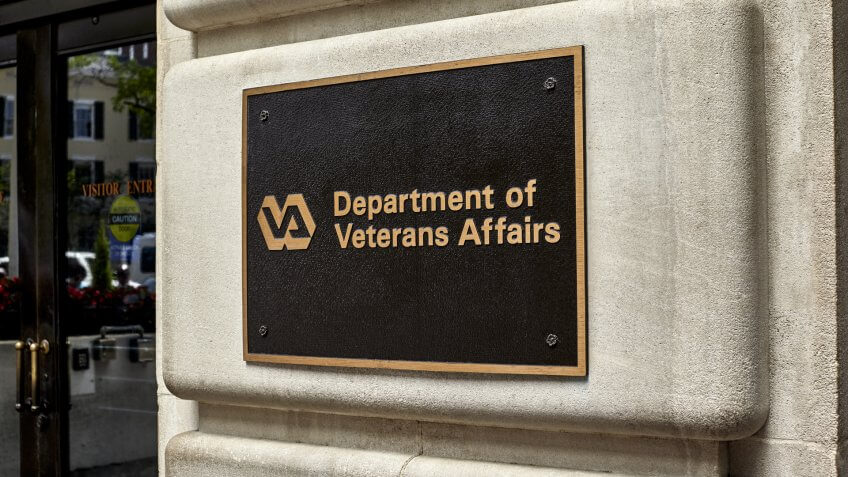 Washington DC, USA - May 30, 2016: Sign on Department of Veterans Affairs building next to entrance in Washington DC.