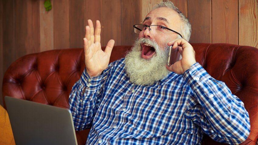 MAN, elderly, laptop, phone, senior, surprised