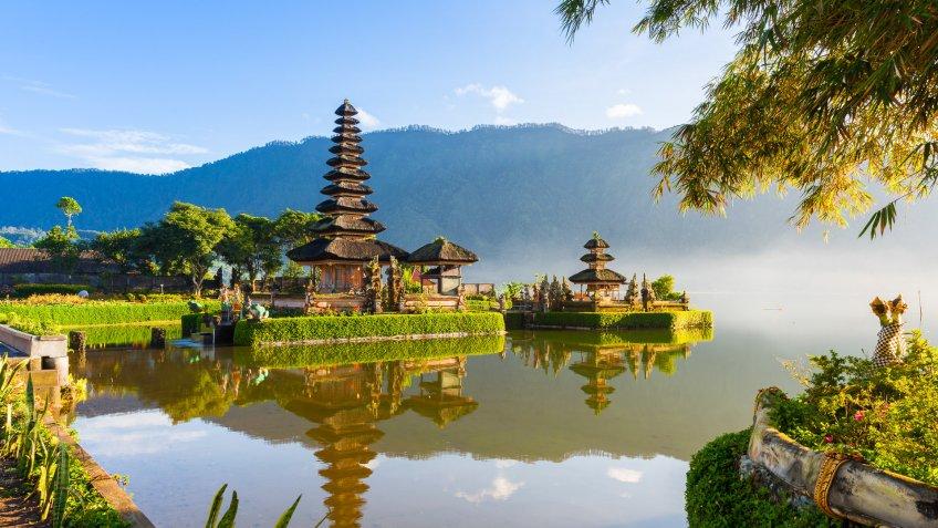 Pura Ulun Danu Bratan at sunrise, famous temple on the lake, Bedugul, Bali, Indonesia.