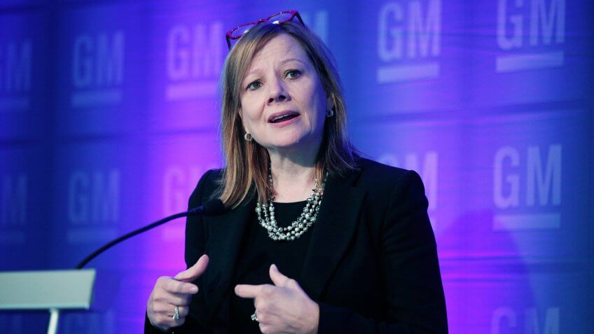 DETRIOT, MI - JUNE 9:  General Motors CEO Mary Barra holds a media briefing prior to the start of the 2015 GM Annual Meeting of Stockholders at GM world headquarters June 9, 2015 in Detroit, Michigan.