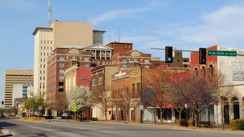 springtime view in downtown Topeka, Kansas, USA.