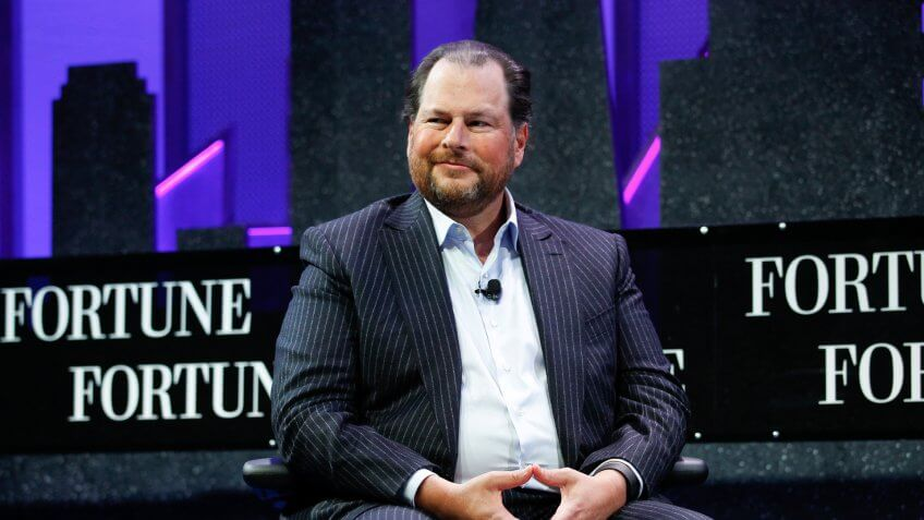 SAN FRANCISCO, CA - NOVEMBER 03:  Marc Benioff speaks during the Fortune Global Forum - Day2 at the Fairmont Hotel on November 3, 2015 in San Francisco, California.
