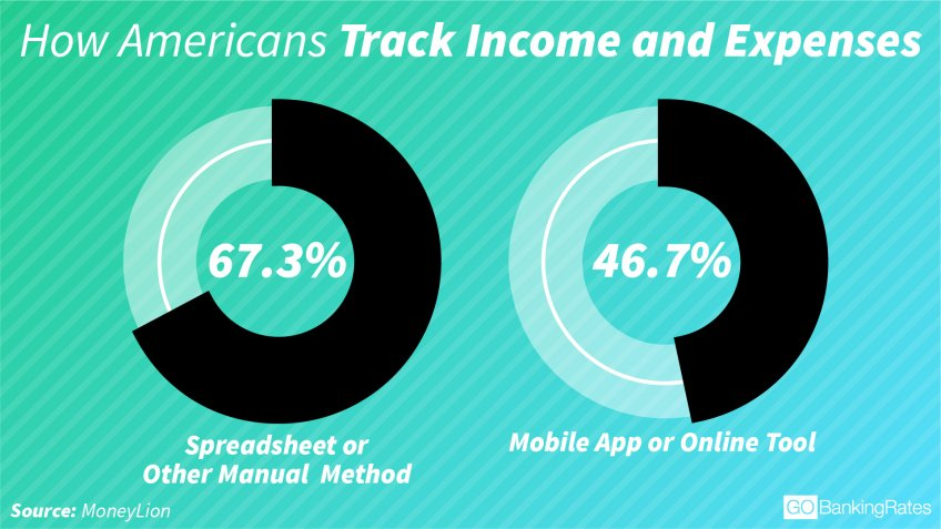 Most Americans track income and expenses manually infographic