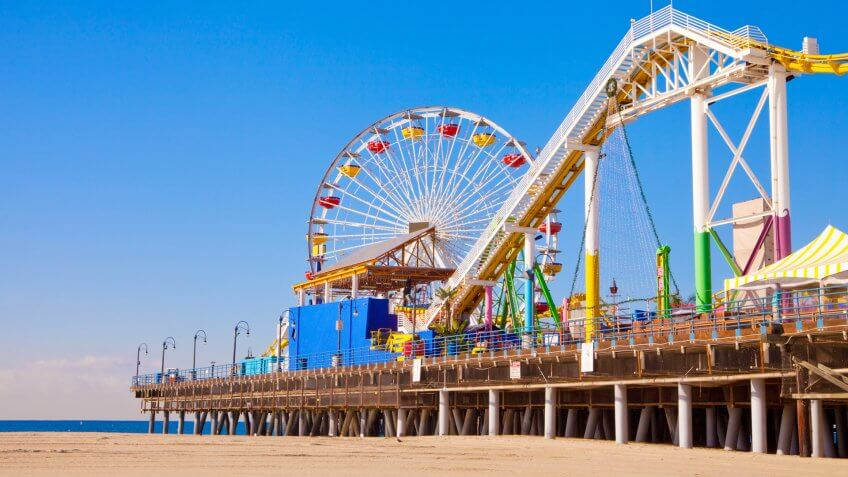 Santa Monica pier and beach.