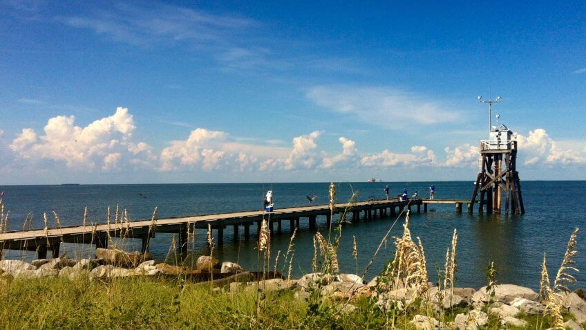 Pier at eastern point of Dauphin Island AL.