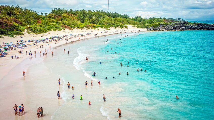 HORSESHOE BAY, BERMUDA - MAY 26 - A panoramic view of Horseshoe Bay Beach on May 26 2016 in Southampton Parish Bermuda.