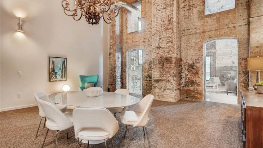 Historic factory loft that has been renovated into a living space