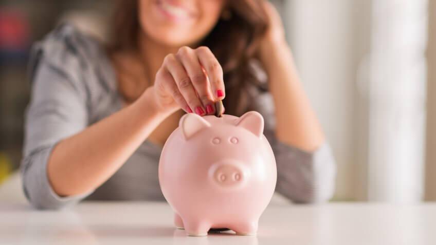 Savings, piggy bank, woman